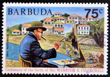 BARBUDA - CIRCA 1974: Un sello impreso en Barbuda dedicado a centenario del nacimiento de Sir. Winston S. Churchill, alrededor de 1974