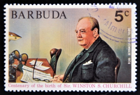 BARBUDA - CIRCA 1974: A stamp printed in Barbuda dedicated to centenary of the birth of Sir. Winston S. Churchill, circa 1974