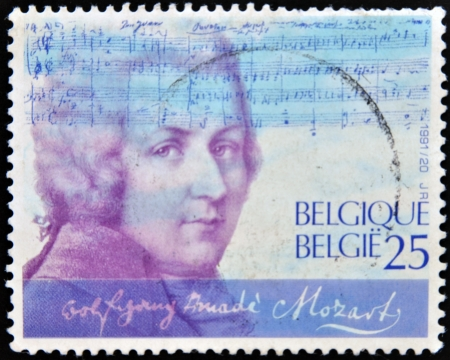 mozart: BELGIUM - CIRCA 1991: A stamp printed in Belgium shows Wolfgang Amadeus Mozart, circa 1991