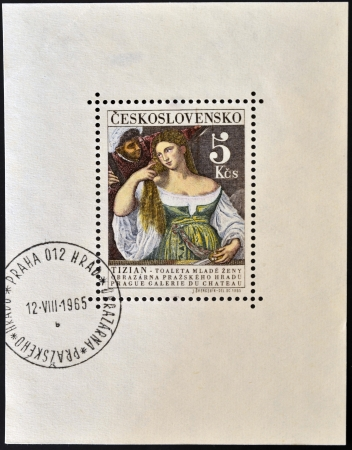 CZECHOSLOVAKIA - CIRCA 1965: a stamp printed in Czechoslovakia shows  the woman in the mirror painting by Titian, circa 1965