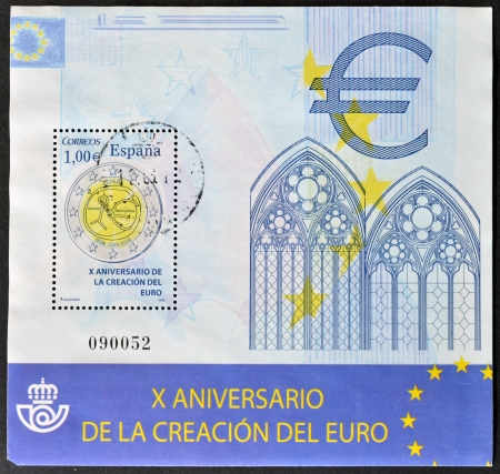 SPAIN - CIRCA 2009: A stamp printed in Spain dedicated to tenth anniversary of the creation of the euro, circa 2009