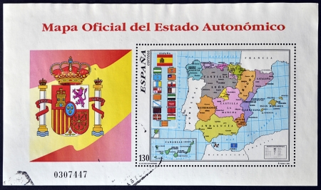 atilde: SPAIN - CIRCA 1996: A stamp printed in Spain shows the official map of Spain with the Autonomous Communities, circa 1996