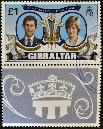 lady diana: GIBRALTAR - CIRCA 1981: A stamp printed in Gibraltar celebrating the Royal Wedding of Prince Charles and Lady Diana Spencer, circa 1981   Editorial