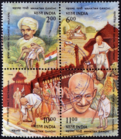 indian postal stamp: INDIA - CIRCA 1998: Four stamps dedicated to Mahatma Gandhi, circa 1998 Editorial