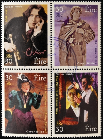 dorian: IRELAND - CIRCA 2000: Four stamps dedicated to Oscar Wilde, the most famous writer, poet and playwright Irish, circa 2000 Editorial
