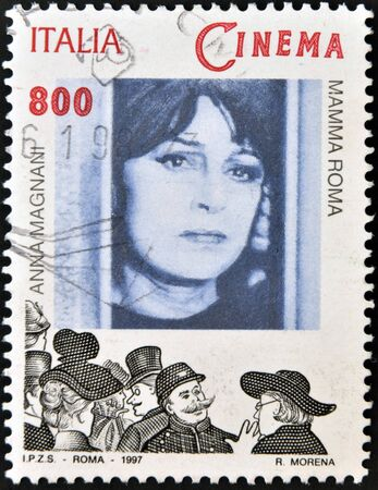 ITALY - CIRCA 1997: A stamp printed in Italy shows Anna Magnani in the film Mamma Roma, circa 1997