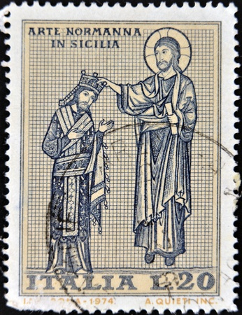 blessing: ITALY - CIRCA 1974: A stamp printed in the Italy shows The blessing art show in Norman Sicily, circa 1974
