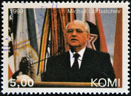 mikhail: KOMI - CIRCA 1999: A stamp printed in  Komi shows Mikhail Gorbachev, circa 1999  Editorial