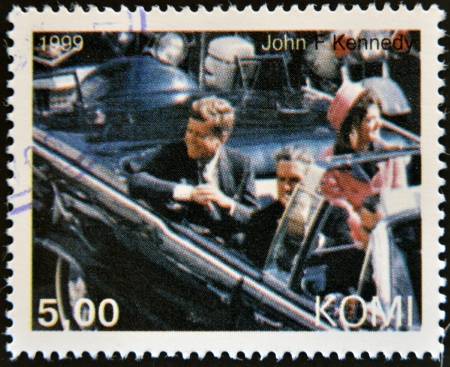 Kennedy: KOMI - CIRCA 1999: A stamp printed in  Komi shows John Fitzgerald Kennedy, circa 1999