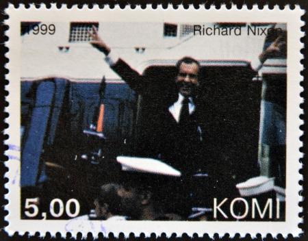 richard: KOMI - CIRCA 1999: A stamp printed in  Komi shows Richard Nixon, circa 1999  Editorial