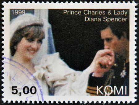 prince charles of england: KOMI - CIRCA 1999: A stamp printed in  Komi shows Prince Charles and Diana, princess of Wales, circa 1999