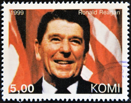 united states postal service: KOMI - CIRCA 1999: A stamp printed in  Komi shows Ronald Reagan, circa 1999  Editorial