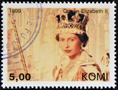 KOMI - CIRCA 1999: A stamp printed in Komi shows Queen Elizabeth II, circa 1999