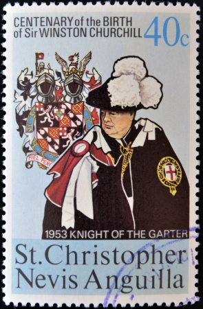 ST CHRISTOPHER NEVIS ANGUILLA - CIRCA 1974: A stamp printed in St Christopher Nevis & Anguilla shows Winston Churchill in 1953 Winston Churchill appointed Knight of the Garter, stamp commemorating the centenary of his birth, circa 1974 Stock Photo - 14423826