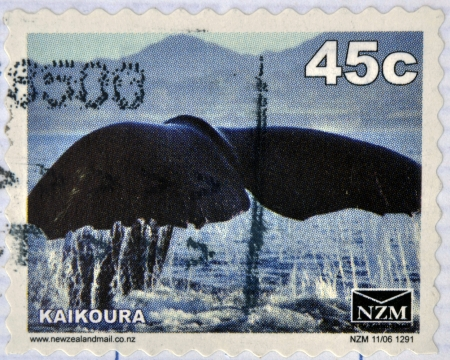 kaikoura: NEW ZEALAND - CIRCA 1988: A stamp printed in New Zealand shows The tail of a whale at Kaikoura, circa 1988