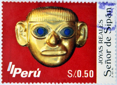visard: PERU- CIRCA 1987: A stamp printed in Peru shows image of The Lord of Sipan, circa 1987.