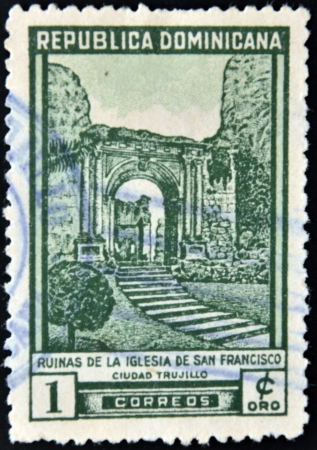 DOMINICAN REPUBLIC - CIRCA 1960  A stamp printed in the Dominican Republic, shows a ruins of the church of St  Francis in Trujillo city, circa 1960 photo