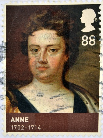 anne: UNITED KINGDOM - CIRCA 2010  A stamp printed in Great Britain shows Anne, Queen of Great Britain, 1702 - 1714, circa 2010 Editorial