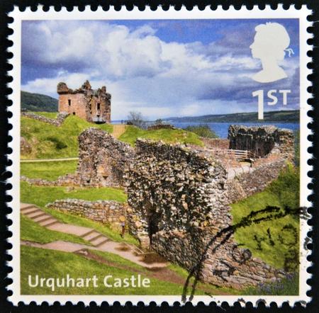 UNITED KINGDOM - CIRCA 2012  A stamp printed in Great Britain shows Urquhart Castle, circa 2012 photo