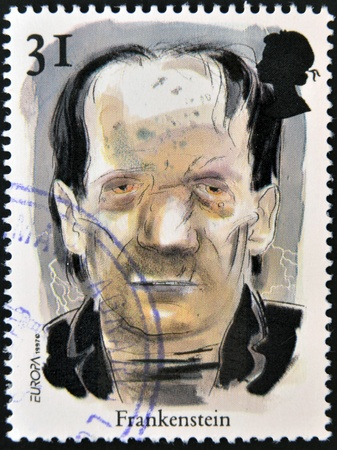 GREAT BRITIAN - CIRCA 1997  A stamp printed in United Kingdom shows a portrait of Frankestein, circa 1997