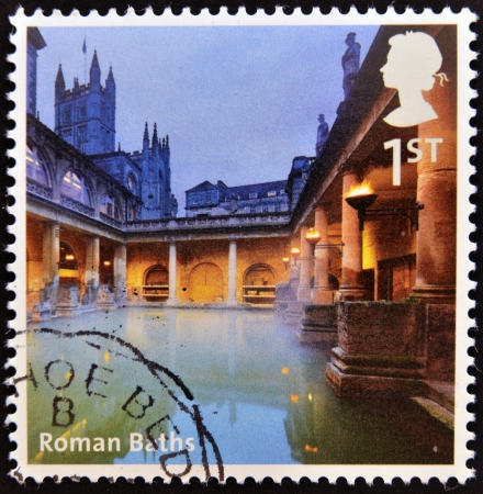 UNITED KINGDOM - CIRCA 2012: A stamp printed in Great Britain shows Roman Baths, circa 2012 photo