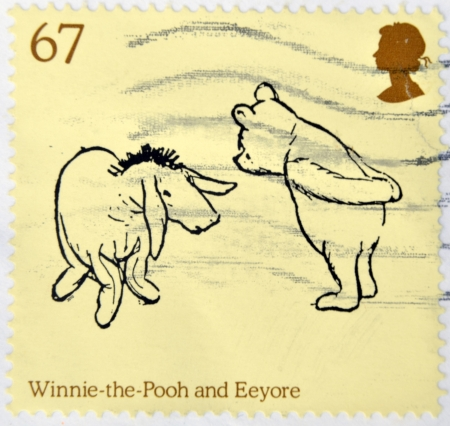 UNITED KINGDOM - CIRCA 2010: stamp printed in  Great Britain featuring A.A. Milne's Winnie The Pooh and Eeyore characters, circa 2010  Stock Photo - 14423549