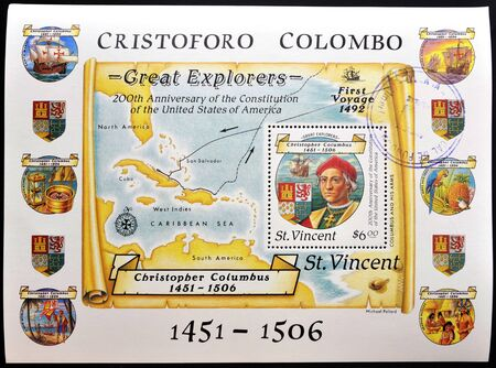SAINT VINCENT - CIRCA 1986: a stamp was printed in Saint Vincent, shows Christopher Columbus and map of the Antilles, commemoration of 200 anniversary of the creation of the united states of america, circa 1986  Editorial