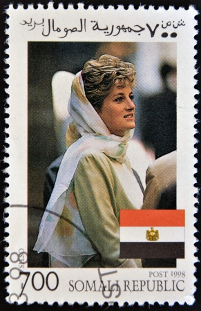 SOMALIA - CIRCA 1998: A stamp printed in Somalia  commemorative  of first anniversary of the death of Princess Diana, Lady Di, circa 1998