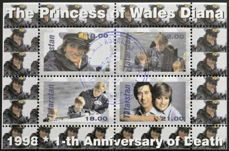 lady diana: TATARSTAN - CIRCA 1998: A stamp printed in  Republic of Tatarstan shows commemorative portraits of first anniversary of the death of Princess Diana, Lady Di, circa 1998 Editorial