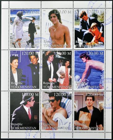 john fitzgerald kennedy: TURKMENISTAN - CIRCA1999:  stamps printed in turkmenistan,  shows set of stamps showing nine stamps with pictures of John Fitzgerald Kennedy Jr., circa 1999