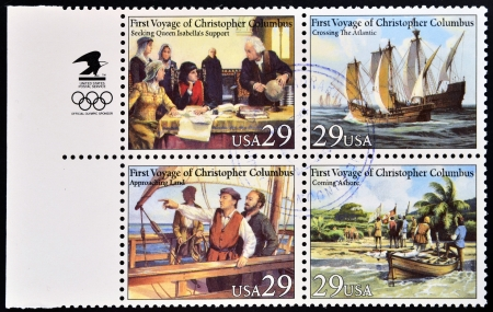 colonizer: UNITED STATES OF AMERICA - CIRCA 1992  four stamps printed in USA dedicated to first voyage of Christopher Columbus, circa 1992