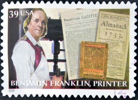 UNITED STATES OF AMERICA - CIRCA 2006  A stamp printed in USA shows Benjamin Franklin, printer, circa 2006
