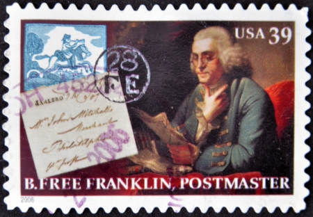 the franklin: UNITED STATES OF AMERICA - CIRCA 2006  A stamp printed in USA shows Benjamin Franklin, printer, circa 2006 Editorial
