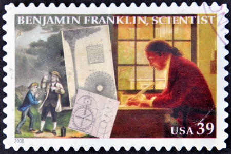 benjamin franklin: UNITED STATES OF AMERICA - CIRCA 2006  A stamp printed in USA shows Benjamin Franklin, scientist, circa 2006