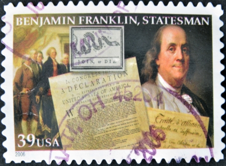 UNITED STATES OF AMERICA - CIRCA 2006  A stamp printed in USA shows Benjamin Franklin, statesman, circa 2006 Stock Photo - 14423564