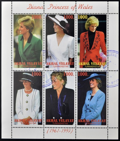 lady diana: TURKMENISTAN - CIRCA1997   stamps printed in turkmenistan,  shows set of stamps showingsix stamps with pictures of Diana Princess of Wales, Lady Di, circa 1997