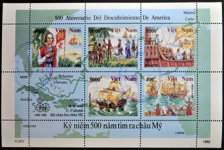 VIETNAM - CIRCA 1992  A stamp printed in Vietnam shows commemorates the 500th anniversary of the discovery of America , circa 1992  Stock Photo - 14423849