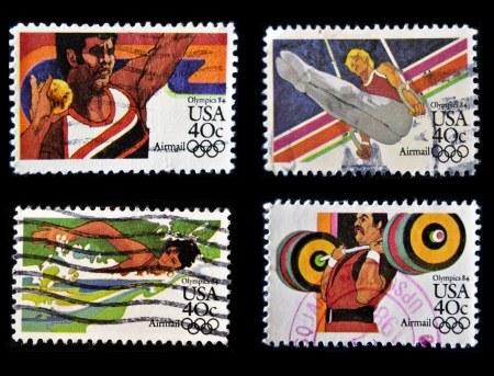 UNITED STATES OF AMERICA - CIRCA 1984   Collection stamps printed in USA dedicated to Olympics 84, circa 1984