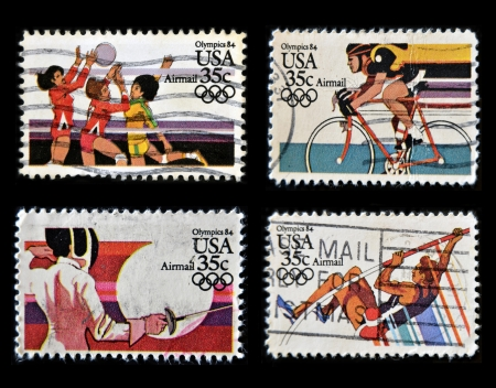 olympic game: UNITED STATES OF AMERICA - CIRCA 1984  Collection stamps printed in USA dedicated to Olympics 84, circa 1984