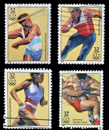 UNITED STATES OF AMERICA - CIRCA 1996  Collection stamps dedicated to centennial olympic games, circa 1996