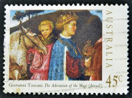 adoration: AUSTRALIA - CIRCA 1994: Stamp printed in Australia shows draw by Giovanni Toscani The Adoration of the Magi(denail), circa 1994  Stock Photo