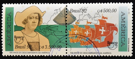 BRAZIL - CIRCA 1992: A stamp printed in Brazil dedicated to the discovery of America by Christopher Columbus, circa 1992 Stock Photo - 14521192