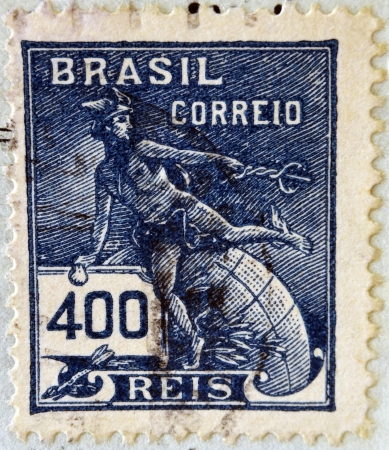 BRAZIL - CIRCA 1920: A stamp printed in Brazil, shows Hermes - a symbol of trade (Roman god Mercury), circa 1920  photo