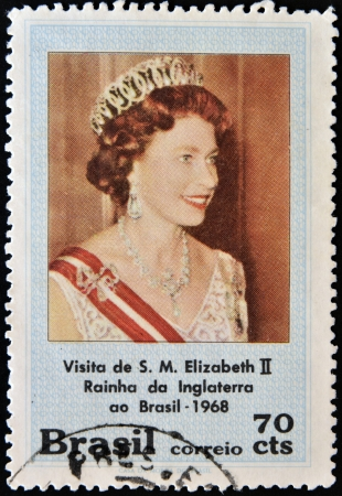 queen elizabeth ii: BRAZIL - CIRCA 1968: A stamp printed in Brazil shows the visit of Her Majesty Elizabeth II, Queen of England, circa 1968