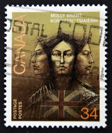 molly: CANADA - CIRCA 1986: stamp printed in Canada shows Molly Brant, Iroquois Leader and Loyalist, circa 1986