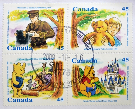 CANADA - CIRCA 1996: Four stamps printed in Canada shows Winnie the pooh, circa 1996