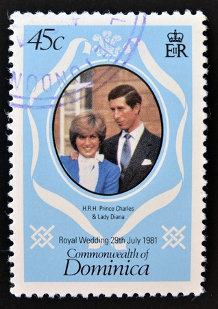 lady diana: DOMINICA - CIRCA 1981: A stamp printed in Dominica celebrating the Royal Wedding of Prince Charles and Lady Diana Spencer, circa 1981