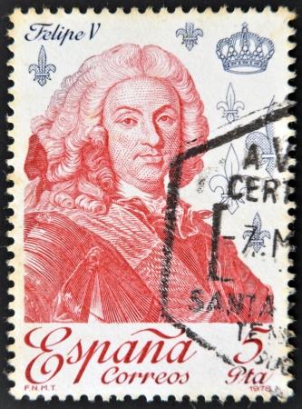 SPAIN - CIRCA 1979: A stamp printed in Spain shows King Philip V, circa 1979 Editorial