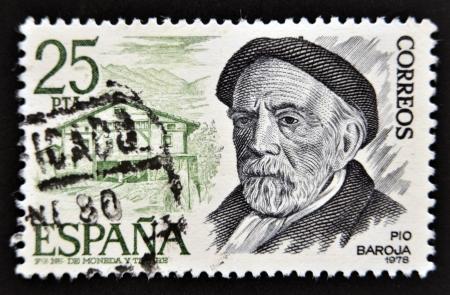 pio: SPAIN - CIRCA 1978: A stamp printed in Spain shows Pio Baroja, circa 1978