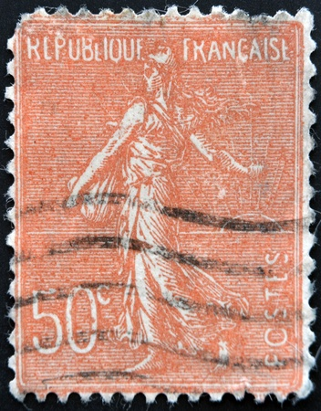 marianne: FRANCE - CIRCA 1903: stamp printed in France shows marianne sowing, circa 1903